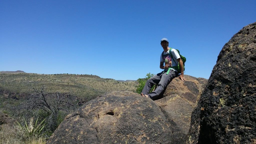 On top of a rock on the trail to Fort Davis