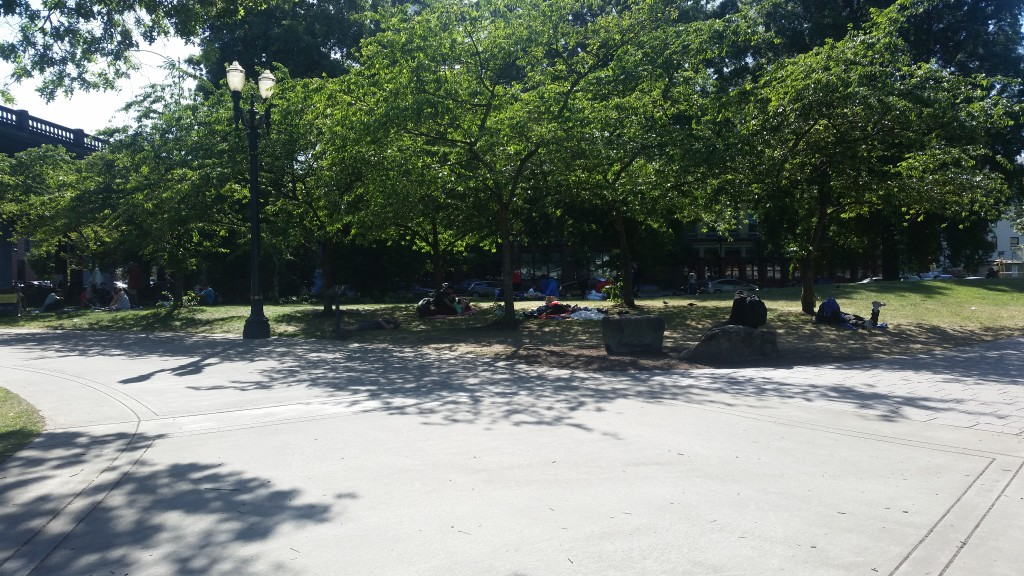 The river front park in downtown Portland packed with homeless people