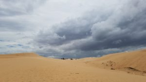 The White Dunes, look at those clouds, time to go!