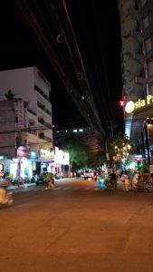 A street at night in Nha Trang.