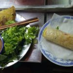 Ban xeo (coconut milk crepe). Another fun food to assemble and eat. The pic shows the crepe rolled up and ready to consume.