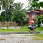 A local riding with an umbrella